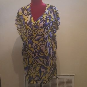 H&M Leopard Lime Green & Blue Oversize Tunic